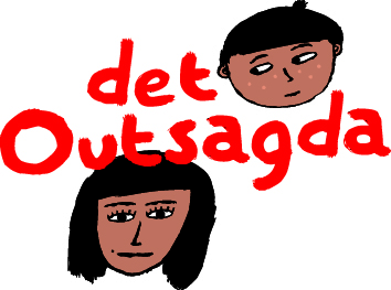 logga för Det outsagda - barn och vuxen-ansikten med röd text