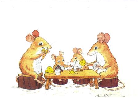 Musfamilj runt bord